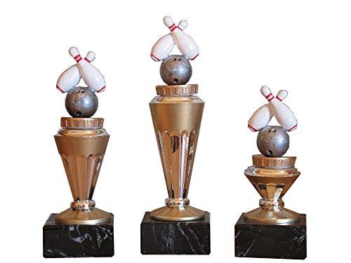 RaRu 3er-Serie Bowling-Pokale (RH) auf Marmorsockel mit Wunschgravur