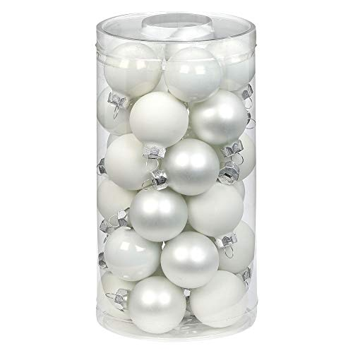 MAGIC Weihnachtskugeln Glas 4cm, 30 Stück Christbaumkugeln Deko Weihnachten Farbe: Just White-Mix (weiß)
