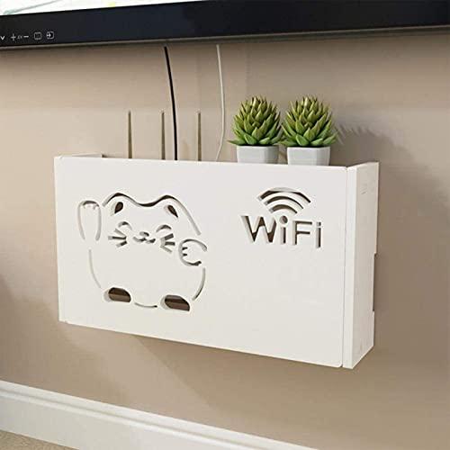Wall Router WiFi Caja de Almacenamiento de Alambre de Madera Sucket Plataforma Multipropósito Colgando Blanco Organizador para Wi-Fi, Router y TV Jugador etc