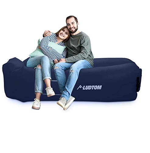 LUDTOM Inflatable Lounger Air Sofa Hammock, 440 lb Portable and Waterproof Ideal Inflatable Pouch Couch for Camping Gear and Accessories for Outdoors Pool Backyard Traveling Navy