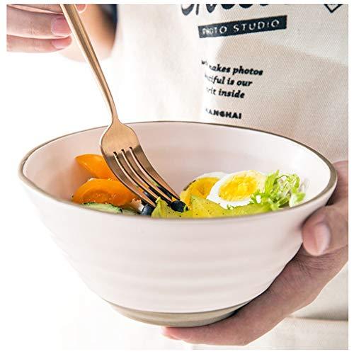 CJW Assiette en céramique bleue pour ménage - assiette/salade/collation/fruit/petit-déjeuner/occidental/assiette creuse 7 pouces (Color : Pink)
