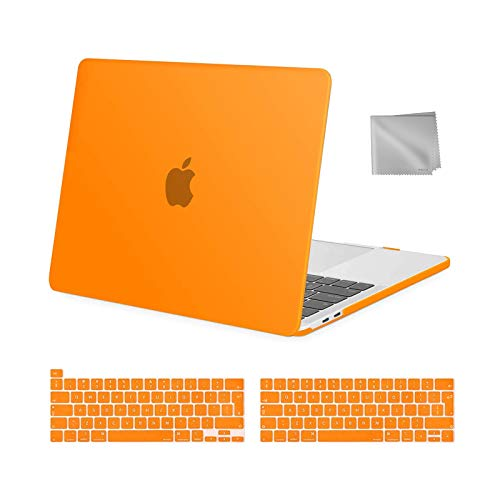 MOSISO MacBook Pro 13 inch Case 2016-2020 Release A2338 M1 A2289 A2251 A2159 A1989 A1706 A1708, Plastic Hard Shell Case&Keyboard Cover&Wipe Cloth Compatible with MacBook Pro 13 inch, Orange