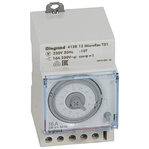 Legrand, Zeitschaltuhr MicroRex T31, mechanisch mit 24 Stunden-Programm (Reiheneinbau-Zeitschaltuhr für Hutschiene, 3-modulig), 412812