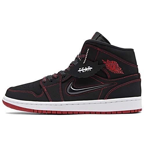 Jordan Men's AIR Retro 1 MID Fearless Casual Shoes (10.5, Black/White/Red)