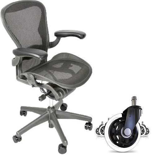 Aeron Fully Loaded Size B Adjustable Lumbar Pad Free Rubber Rollerblade Style Wheels Office Chair (Renewed)
