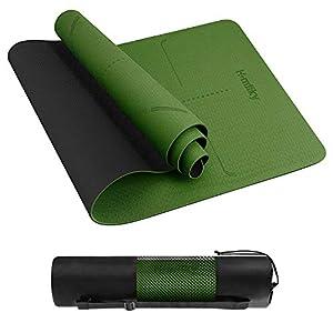 Homtiky Esterilla Yoga, Esterilla Deporte Antideslizante con Material ecológico TPE, Yoga Mat diseñado para Entrenamiento físico con Correa de Transporte y Bolsa