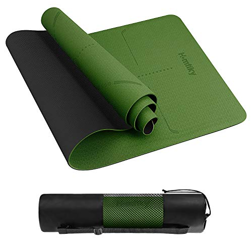 Homtiky Yoga Mat, Eco Friendly Non Slip Fitness Exercise Mat with Carrying Strap(Green)