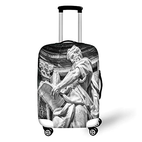 Travel Luggage Cover Suitcase Protector,Sculptures Decor,Statue of St. Matthew at The Basilica of St. John Lateran in Rome Cthedra with Pillars,Bronze,for Travel M