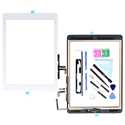 Compatible with ipad Air 1st (5th Generation) A1474 A1475 A1476 Touch Screen Glass Digitizer Replacement, Home Button Flex, Adhesive Tape,Repair Tools kit (White)