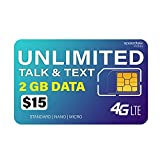 SpeedTalk Mobile Unlimited Call (Talk) & Text (SMS) + 2GB 4G LTE Data - GSM SIM Card - 30 Days Nationwide Service
