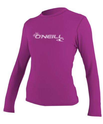 O'Neill UV Sun Protection Womens Basic Skins Long Sleeve Rash Tee Sun Rash Guard, Fox Pink, Large, Fox Pink, Large