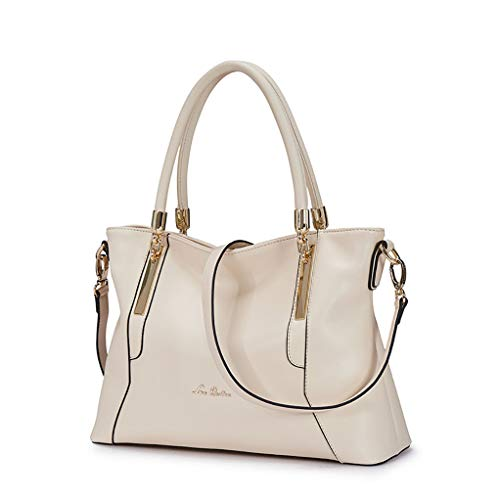 Leather Handbag for Women, Genuine Leather Ladies Top-handle Bag with Adjustable Shoulder Strap Women's Crossbody Bags Womens Shoulder Messenger Bags Cowhide Totes Purses and Handbags (Cream Color)