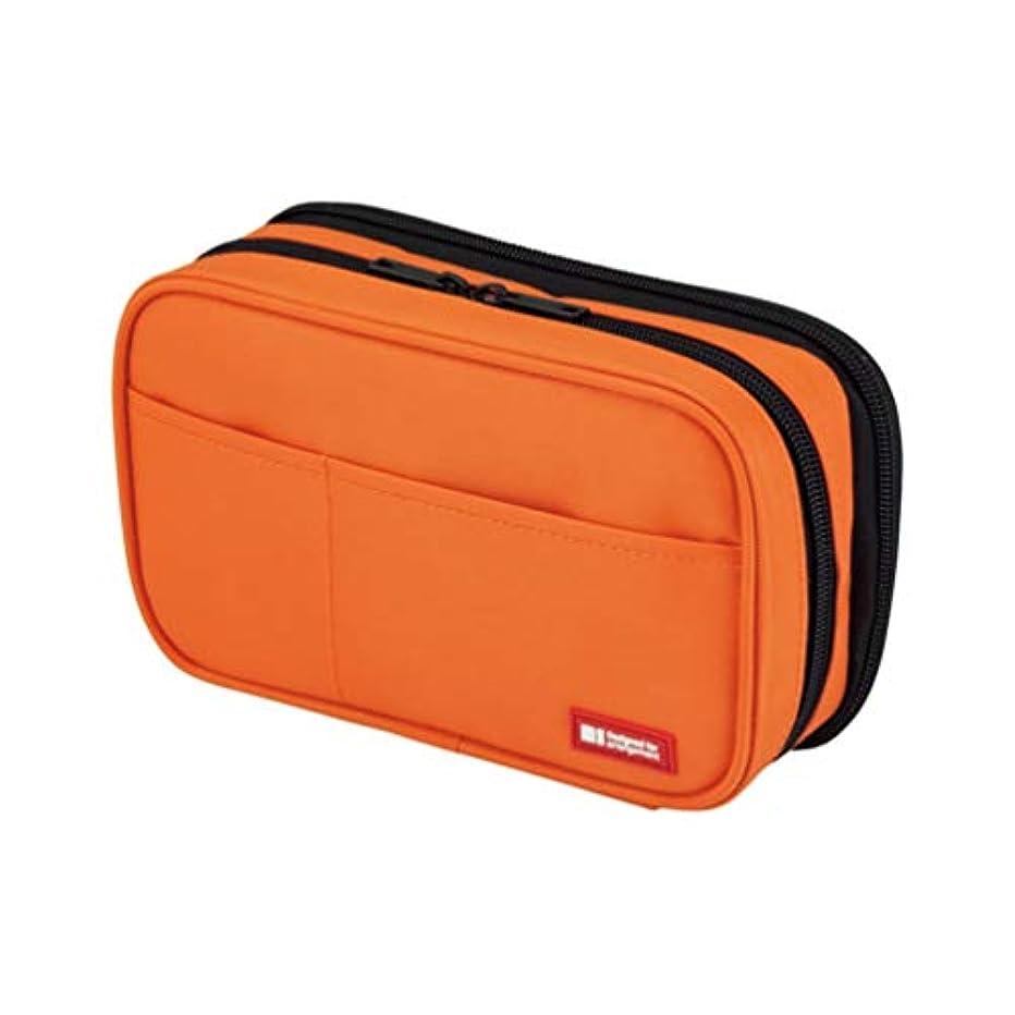 LIHIT LAB. Double Zipper Pen Case, 7.9 x 2.8 x 4.7 inches, Orange (A7555-4)