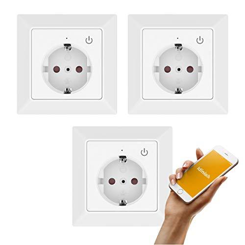 idinio Enchufe de pared inteligente WiFi, set 3, sensor interruptor, marco integrado, 3.680W, temporizador por App, 3.680W, WLAN, App iOS y Android, Skill Echo
