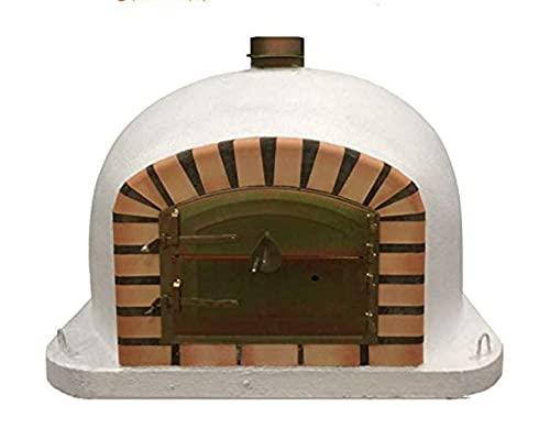 White Deluxe Wood Fired Pizza Oven, Orange Arch, Gold Door, 80cm x 80cm