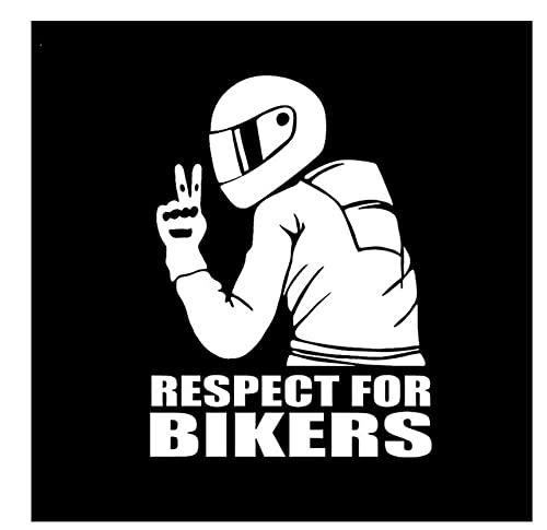 MDGCYDR Pegatinas Coche 14X19Cm Respeto por Los Motociclistas Señal De Advertencia Reflectante Calcomanías Divertidas para Automóviles Pegatinas Vinilo Láser Estilo De Automóvil