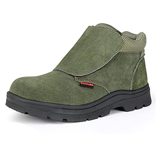 Zapatos de Trabajo Botas de Seguridad de Soldadura de Piel de Gamuza Ligera con Cubierta de protección de Chispa de Alta Temperatura, Tapa de Punta de Acero y Zapatos de Trabajo de Metal de Metal