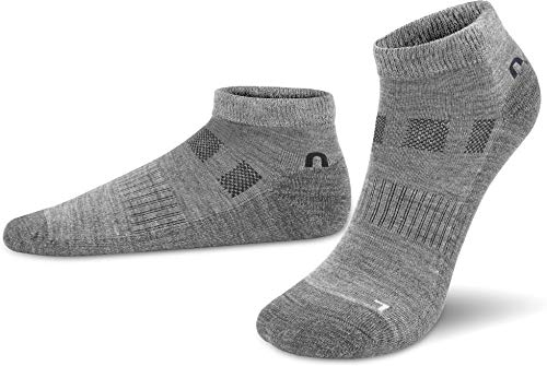normani 2 Paar Merino-Wolle Sneaker Socken - für Damen und Herren - Trekkingsocken, Wandersocken - atmungsaktive Merinowolle Farbe Grau Größe 35-38