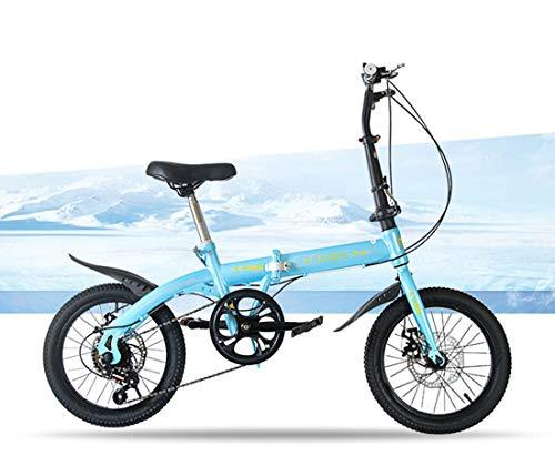 RHSMSS Biciclette Pieghevoli, Biciclette Pieghevoli Portatili, Biciclette Pieghevoli, Ragazzi e Ragazze Biciclette Portatili,Blu