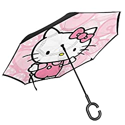 Car Reverse Umbrella Hello Kitty Happy Dance (2) Windproof And Rainproof Double Folding Inverted With C-Shaped Handle Uv Protection Umbrella