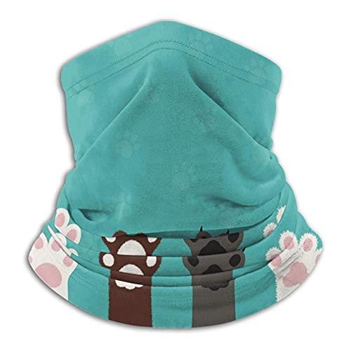 Bokueay Katzen-Tatzen-Hundetatzen-Tapete Neck warmer Schal Lätzchen warme Winter Kopfbedeckung Stirnband Outdoor Sports Kopftuch