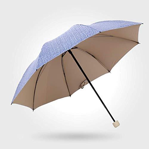 YNHNI Soleado Lluvia Paraguas Plegable Masculino twodual Uso Refuerzo a Prueba de Viento UV Parasol Sol Protector Solar Mujer Negocios Tri-Pliegue Paraguas,Portátil (Color : Blue)