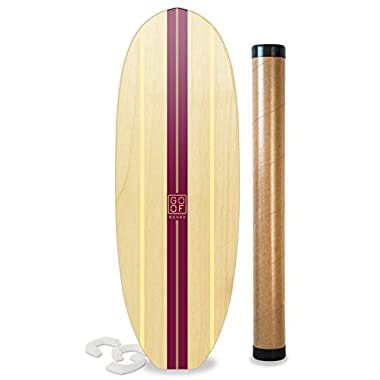 GoofBoard Classic (Plumerial) Surfing Balance Board - Perfect for SUP/Paddle Board/Kite/Longboard - Top Rated of All Balance Boards for Surfers - U-blocks Included for Easy/Safe Start-Up