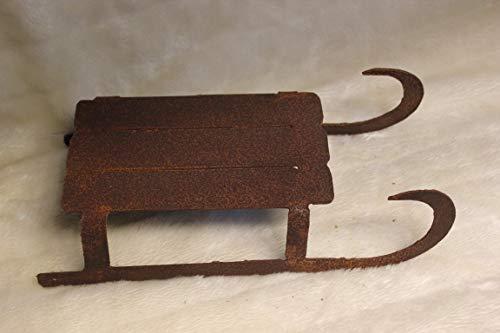 Onbekend decoratieve slee van metaal patina 32 x 15,5 cm, winterdeco slee