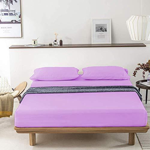 Indian Kìngdom Levender - Juego de sábanas de algodón egipcio de 400 hilos (152,4 x 190,5 cm), 38,1 cm, sábana encimera (233,7 x 259,1 cm) + fundas de almohada (50,8 x 76,2 cm), tamaño Queen corto