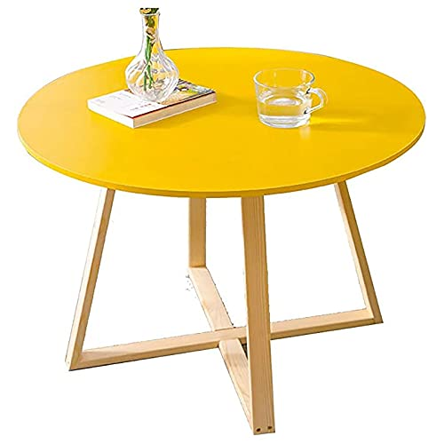 Mesas de café Nordic Wood, Mesa de Centro Redonda pequeña para Sala de Estar/balcón/balcón (Color : Yellow)