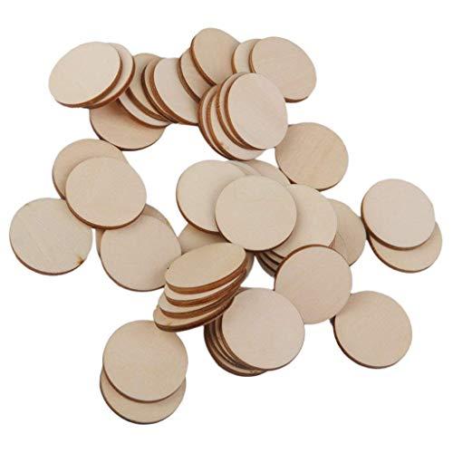 Ndier 50 discos redondos de madera multiusos: para accesorios de vacaciones, manualidades (30 mm), papelería y productos para la oficina