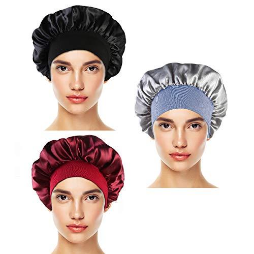 3Pcs Bonnet de Sommeil en Satin Femmes Cheveux Bonnet Nuit Dormir Tête Couverture Doux Bonnet de Sommeil (Vin rouge + Noir + Argent)