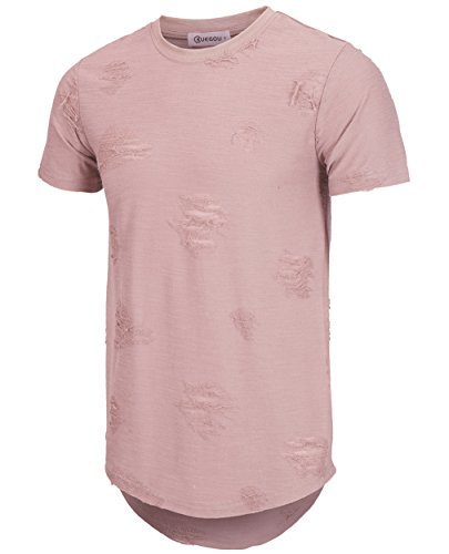 KLIEGOU Mens Hipster Hip Hop Ripped Round Hemline Hole T Shirt(1705) (Large, Pink)