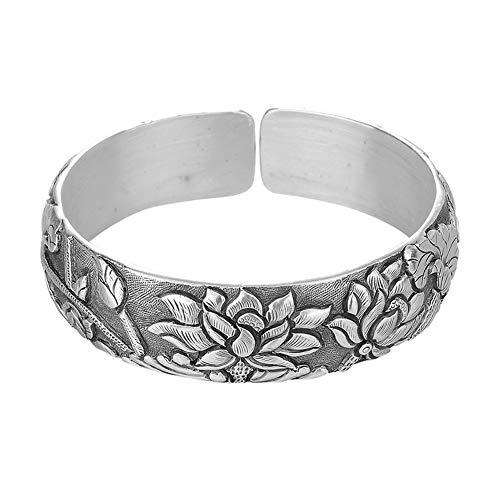 YJZW 999 Sterling Silber Retro Lotus Carving Armreif Manschettenarmband für Frauen Handgemacht Öffnen Einstellbar Schmuck Geschenk