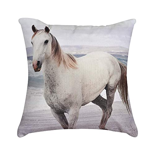 XCNGG Kissenbezug Decorative Throw Pillow with Insert 18'x18' Inches in 1 Set Horse Print for Couch Sofa Bed Living Room Bedroom Farm...
