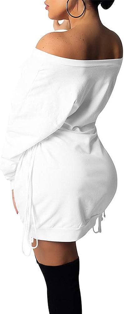 GOKATOSAU Women's Sexy Casual Off Shoulder Long Sleeve Lace Up Loose Club Mini Dress