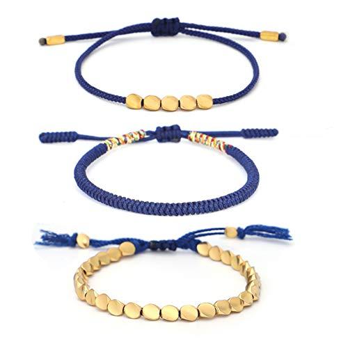 Heroicn Pulsera Tejida a Mano, Cuerda de Mano Azul Marino, Conjunto de Cuerda de Mano, Diamante, Nudo, brazado, Unisex (Color : Blue)