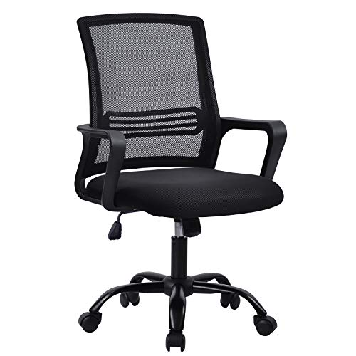Bürostuhl, Ergonomischer Stuhl,Bürostuhl Ergonomisch Höhenverstellbarer Drehstuhl mit Wippfunktion Armlehne, Bürostuhl 150 kg,Computer Stuhl, Schreibstuhl für Büro & Home-Office, in Grün (schwarz)