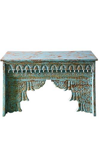 Oosterse console sideboard smal Inana 120cm blauw | Orient vintage consoletafel oosters handgesneden | Landhuis dressoir gemaakt van massief hout | Aziatische decoratieve meubels uit India