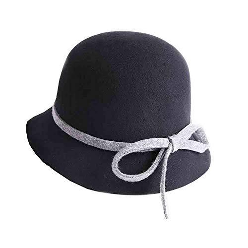 Sun Chapeau De Cloche Vintage Couleur Hiver Chapeau pour Femmes avec Accent d'arc (circonférence De Tête Réglable) (Couleur : Black/Gray)