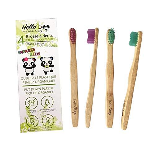 Hello Boo, bamboe-tandenborstelset voor volwassenen, biologisch afbreekbaar, van milieuvriendelijke mosobamboe met ergonomische handgrepen en middelgrote BPA-vrije nylonharen, 8 stuks 4-Pack Kids