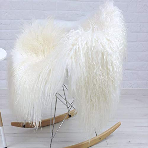 Real Genuine Tibetan Rug, Mongolian Lamb Wool Carpet Curly Fur Pelt Throw Rug Home Decorative Curly Fur Soft,Natural White 39.5 - 43.3 in Long and 24-26 in Wide