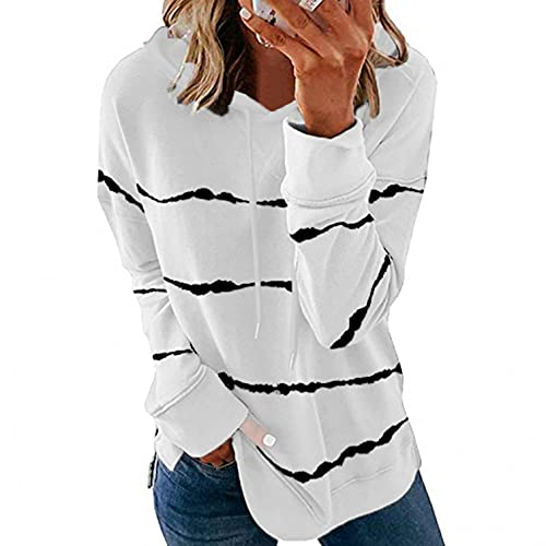 LIEIKIC Sudadera con capucha para mujer, estilo vintage, a rayas, manga larga, con capucha, para otoño e invierno, Blanco, 46