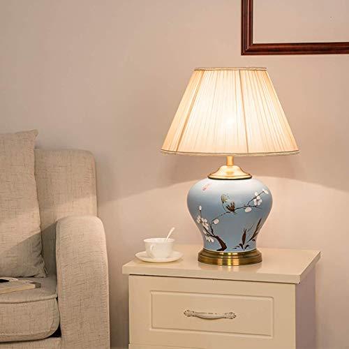 Lámpara de Mesa China Nueva de Porcelana Azul y Blanca 56x40cm Cuerpo de lámpara de cerámica con patrón Pintado a Mano con Base de latón para Pasillo de Estudio, E27
