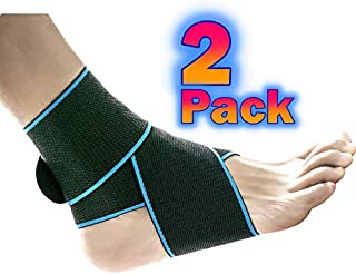 Ankle Support 2 Pack, Adjustable Wrap Stabilizer Brace for Men & Women, Use for Sprained Ankle Shin Splint Achilles Tendonitis Compression Sleeve for Plantar Fasciitis Swollen Ankle Recovery Foot Pain