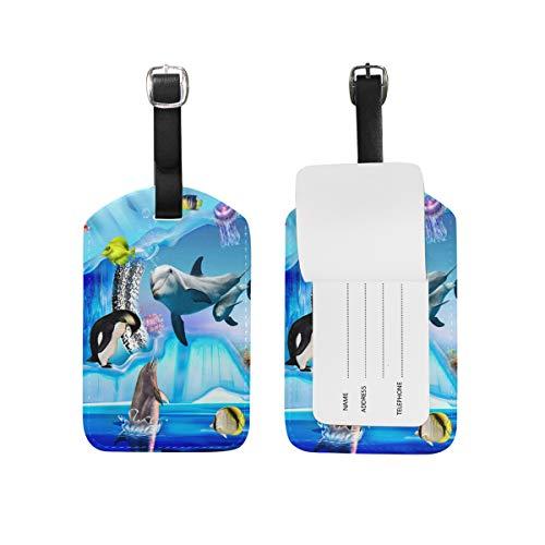 DEZIRO Gepäckanhänger Delphin Pinguin Jelly Aquarium Cruise Tags Gepäckanhänger