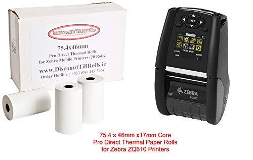 Zebra Zq610thermique Direct Rouleau de rouleaux de papier (20x Box) 75.4mm x 46mm X17mm Core continue (Largeur x longueur) 80g/m² (non étiquettes) blanc