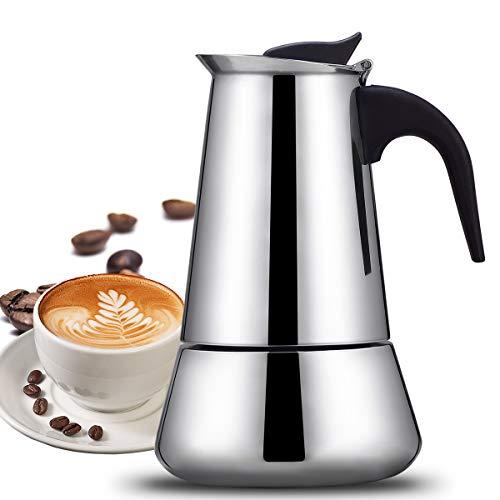 SUDESMO Espressokocher, Espressokanne Edelstahl für Haus und Büro, Induktion Herdkocher Induktion Espresso - Kanne Mokkakanne mit Bonus Gummi Ring, Filter, Schwammbürste - 6 Tassen(300ml)