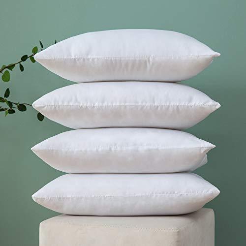 MIULEE Imbottitura 4 Pezzi Inserti dei Cuscini Poliestere Cotone Resistente per Federa Divano Casa Moderna Cucina Bianco Puro 30X50 CM
