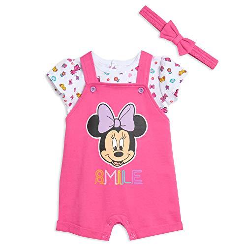 Disney Minnie Mouse Baby Girls French Terry Shortalls T-Shirt & Headband Set Pink 12 Months